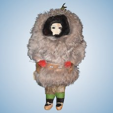 Old Doll Eskimo Indian Unusual Fur Clothing Leather Shoes