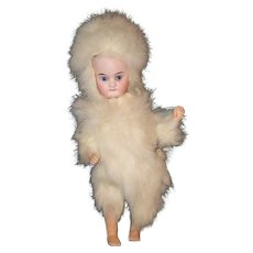 Antique Doll Bisque Miniature In Fur Costume Dollhouse Closed Mouth Barefoot