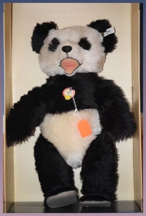 Vintage Teddy Bear Steiff Huge Panda Bear In Original Box