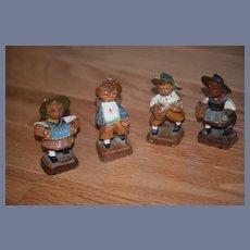 Old Doll Set Wood Carved Miniature Swiss Figurines