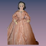 Antique Doll Lady Sculpted Face Cloth Body Unusual