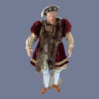 Wonderful King Henry Vlll Doll Portriat Kathy Redmond Large Molded Bonnet Period Clothing