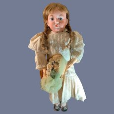 """Antique Bisque Head Doll Closed Mouth Dressed W/ Antique Shoes Unusual 21"""""""