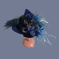 Wonderful Vintage Doll Bonnet Hat Tagged A Yearounder Feathers Flowers Charming