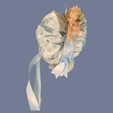 Sweet Wire Framed Vintage Doll Bonnet W/ Flowers Pleated Brim