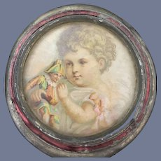 Antique Doll Miniature Tin Frame Glass Front Picture of Child w/ Polichinelle Sweet Dollhouse