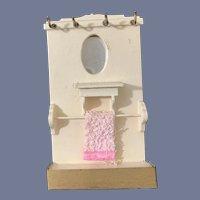 Vintage Dollhouse Doll Miniature Bathroom Wall W/ Vanity W/ Mirror Shelf Hanging hooks Towel Rack