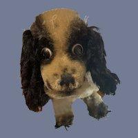 Vintage Mohair Dog Cocker Spaniel Black and White Steiff W/ Button Tag: 4276.19