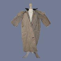 Antique Doll Gingham Doll Coat Jacket W/ Velvet Collar and Pocket