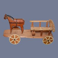 Vintage Wood Carved Horse and Wagon Miniature