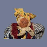 Vintage Doll Nut Head Signed w/ Provenance Folk Art