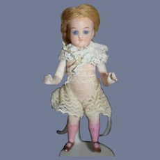 Antique Doll Miniature All Bisque Glass Eyes Pink Stockings Dollhouse Mohair Wig