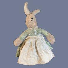 Old Stuffed Rabbit Doll Dressed Sweet Original Clothes