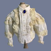 White Cotton Doll Blouse with Floral Lace