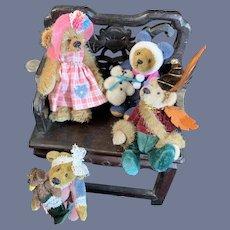 Vintage Sweet Miniature Teddy Bear Set Jointed Signed Dressed