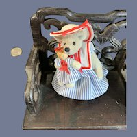 Vintage Miniature Teddy Bear W/ Doll Artist Signed Adorable