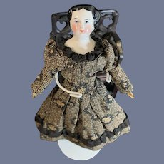Antique Petite China Head Doll Original old Body Dollhouse