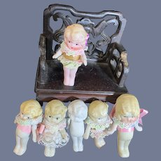 Antique All Bisque Doll Lot Sweet Dolls Miniature Dollhouse Size