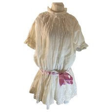Antique Doll Dress Drop Waist Charming Lace & Ribbon & undergarment