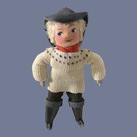 Vintage Sweet Miniature FANO Doll Cloth & Metal Charming Original Tag