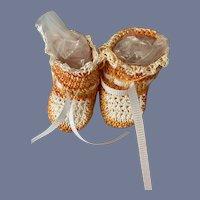 """VERY Cute Pair of Orange Knit Doll Booties 1.75"""""""