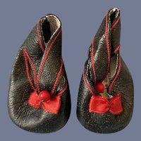 "Vintage Black Leather Doll Shoes Flats 2.25"""
