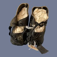 """Pair of Antique Leather Black Leather Doll Shoes with Heels 3 1/4"""""""