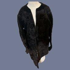 Antique Doll Dress Jacket Gorgeous Velvet W/ Design