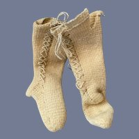 Antique Wool Doll Socks Stockings Lace up Charming