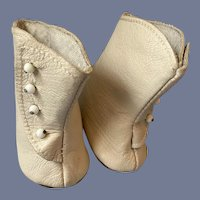 """Miniature Pair of White Leather Doll Heel Boots 2.5"""""""