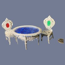 Vintage Doll Miniature Soft Metal Glass Top Ornate Table & Chairs Dollhouse