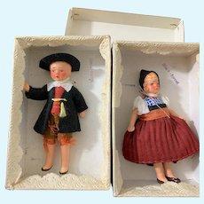 Old Miniature Painted Bisque Doll Set Original Box Original Clothes