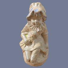 Old Miniature Victorian Child Holding Doll Terracottta Whistle