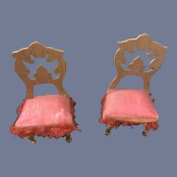 Old Pair Gebr Schneegas Dollhouse Doll Miniature Wood and Upholstered Chairs W/ Fringe