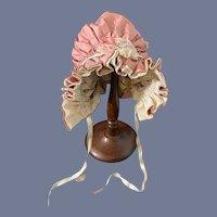 Vintage Doll Bonnet Taffeta Lace Wire Framed