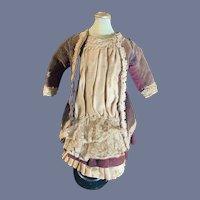 Antique Doll Dress French Market Lace Velvet Petite Doll