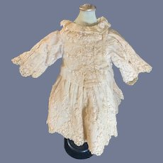 Old Doll Lace & beaded Dress Ruffle Sleeves