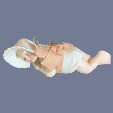Antique Doll Figurine All Bisque Miniature Crawling Baby Dollhouse Molded Bonnet Piano Baby