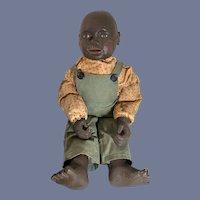 Wonderful Black Doll All Original Dressed Signed Joshua Arnette Country Store Folk Art Artist