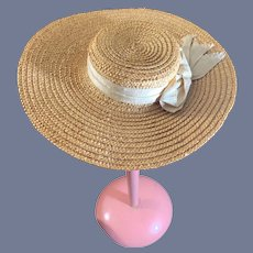 Wonderful Old Straw Doll Bonnet Hat Wide Brim
