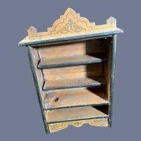 Sweet ornate Miniature Doll BookCase Wood  Shelves