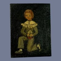 Wonderful Vintage Dollhouse Doll Miniature Painting Boy W/ Sail boat Folk Art Artist Painting Signed GT