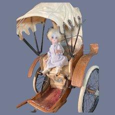 Antique Doll Wood Rickshaw Original Canvas Wood Perfect for Petite Doll