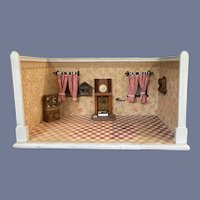 Antique Doll Roombox Dollhouse Miniature W/ Accessories Windows Wood