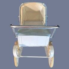 Vintage Red Doucet French Pram Buggy Carriage W/ Cover  Fashion Doll Size