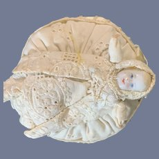 Old Miniature Doll Bisque Doll on Pincushion Miniature Dollhouse
