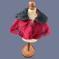 Vintage Doll Cape is hand made and has the Artist Tag Janice Custom Milliner