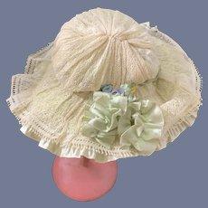 Old Doll Floppy Hat Bonnet Lace Fancy Flowers Ruffles