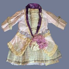 WonderfulOld Doll Dress French Market U Label Lace Antique Material Gorgeous