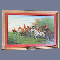 Wonderful Miniature Painting By George Schlosser Hunting Scene W/ Horses and Plaque Schlosser Gallery